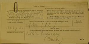 fiche d'emprunt de la British Library
