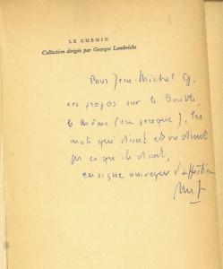 Envoi de M. Foucault dans son Raymond Roussel (1963). © E. Basso